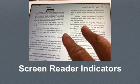 Ipad displaying Chapter 3 of A Very Wimpy Kid with two-fingers making the Read All VoiceOver gesture.