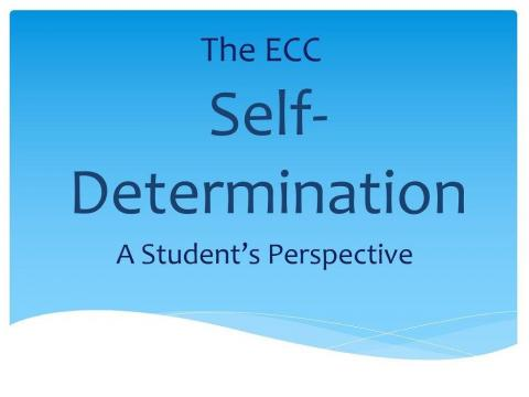 """Graphic: """"The ECC Self-Determination, a Student's Perspective"""""""