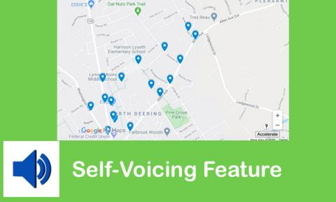 "Image of Google Maps with Points of Interest and Accelerate button with Read Aloud button and text, ""Self-voicing feature"""