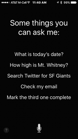 "Screenshot of iPhone with Siri's text, ""Some things you can ask me: today's date, height of Mr. Whitney, Check my email, etc."