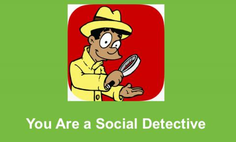 """You are a social detective logo and text, """"You Are a Social Detective"""""""