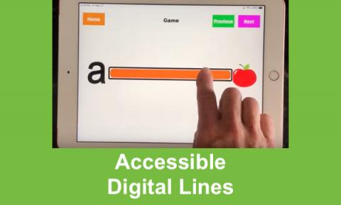 "Screenshot of Sonitunes, Games page with a finger dragging down a line matching ""a"" to Apple & text, ""Accessible Digital Line"""