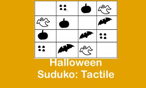 """Tactile Graphic Halloween Suduko with bats, ghosts, pumpkins and gum drops and text, """"Halloween Suduko: Tactile"""""""