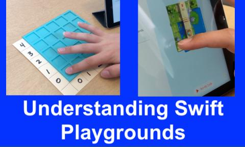 Screenshots from Tyler's video: finger on bottom left corner of tactile grid and corresponding square on app's grid.