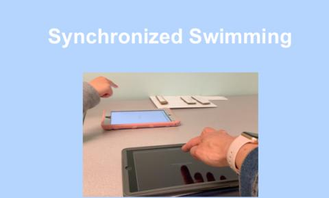 Photo of two iPads opened to VoiceOver Practice page and two hands making the 1-finger tap gesture. Text: Synchronized Swimming