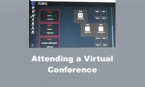 Floor in a virtual conference, with a column of buttons on the left, large blocks of sessions, & small vender blocks