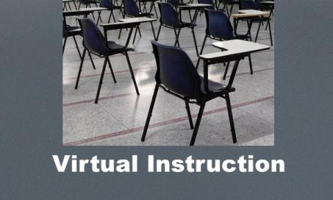 "Photo of school desks in empty classroom with text, ""Virtual Instruction"""