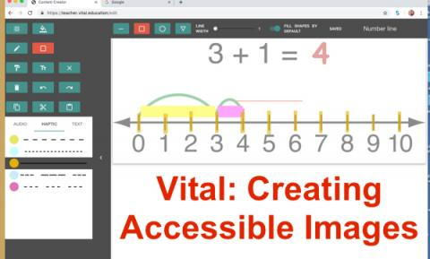 "Screenshot of Vital website displaying 3+1=4 Number line with Haptic layer, and text, ""Vital: Creating Accessible Images"""