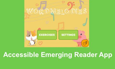 "Screenshot of Word Melodies Home screen with cartoon animals, musical notes and text, ""Accessible Emerging Reader App"""