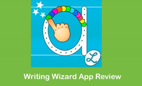 """Writing Wizard app logo and text, """"Writing Wizard App Review"""""""