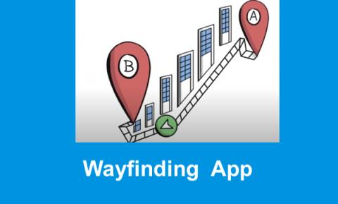 "Cartoon drawing of buildings along a street with Points A & B and route arrow, with text, ""Wayfinding App"""