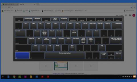 Screenshot of Chromebook's command page: keyboard displaying with Control button highlighted & commands associated with Control