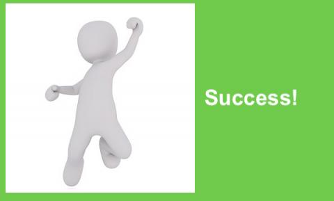 "All white cartoon figure of a boy doing a victory jump and the the word, ""Success!"""