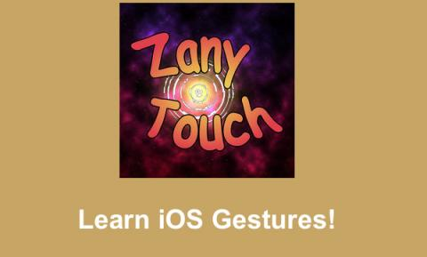"""Zany touch Logo and text, """"Learn iOS gestures!"""""""