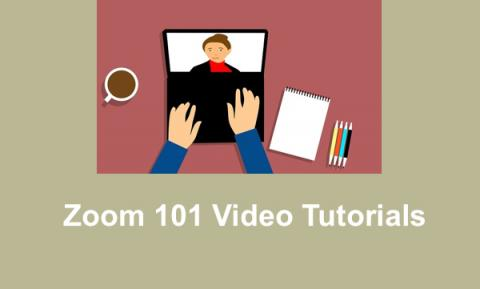 """Cartoon image of hands on a computer displaying Video conference and text, """"Zoom 101 Video Tutorials"""""""