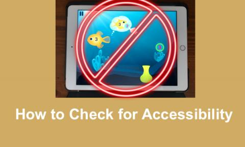 "iPad showing an educational app with red circle slashed line through it and text, ""How to Check for Accessibility"""