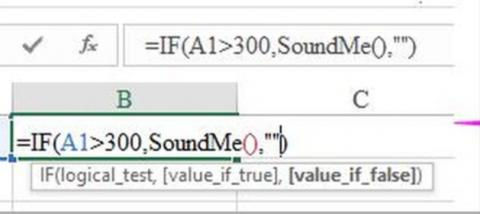 Cell in Excel showing formula to invoke sound