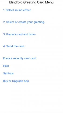 Screenshot of Blindfold Greeting card app's main screen with directions: 1. select sound effect, etc.