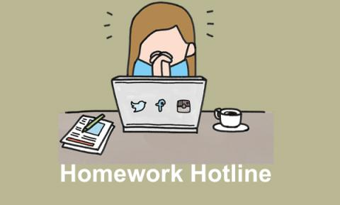 """Cartoon girl with clasped praying hands showing distress in front of a computer with text, """"Homework hotline"""""""
