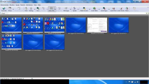 Screenshot of teachers workstation display, showing 9 student screen displays