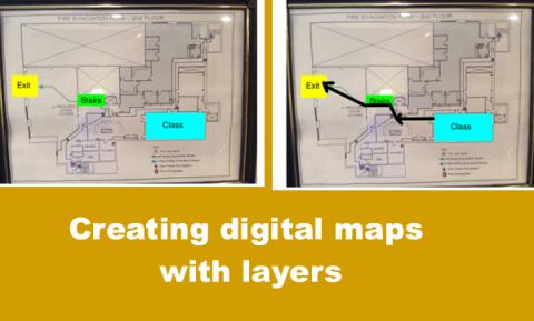 """Two maps with annotated landmarks and route with text, """"Creating digital maps with layers"""""""