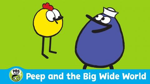 "Cartoon images of Peep and Quack with the text, ""Peer and the Big Wide World, PBS Kids"""