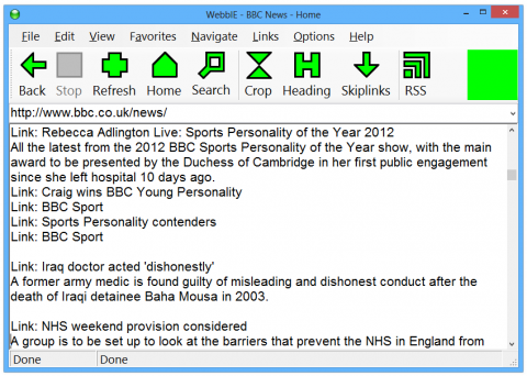 Screen shot of the WebbIE text only browser