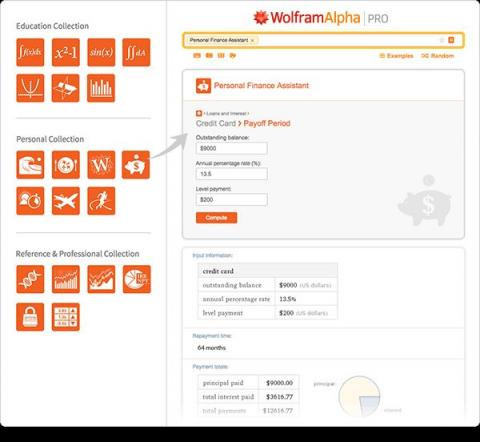 A page from the Wolfram Alpha website, demonstrating the many images and navigational difficulties of using the webiste with a s