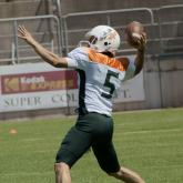Football player getting ready to throw the ball
