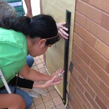 Students measure the height the ball bounced.