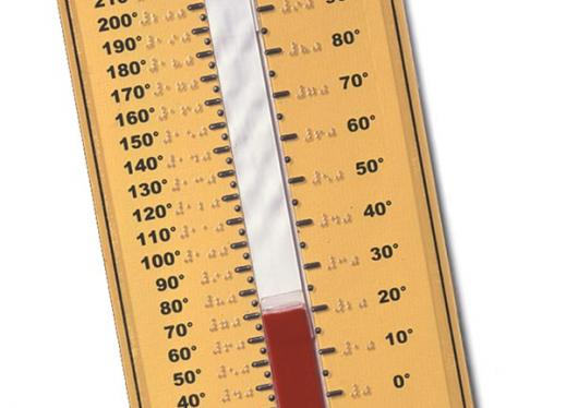 APH Tactile Thermometer with red line half way up tactile number line on both sides.