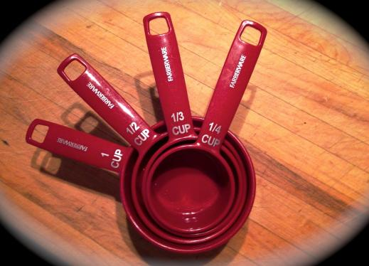 4 measuring cups - 1 cup, 1/2 cup, 1/3 cup and 1/4 cup