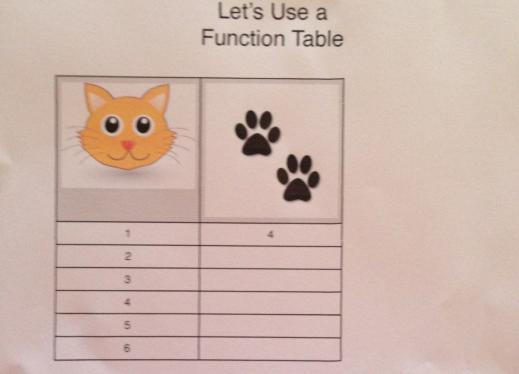 A function table with two columns: cats and number of paws