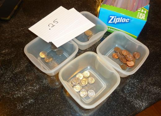 Coins in containers and Ziploc bags
