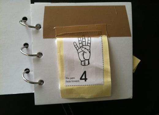 Number 4 with ASL sign, print, braille