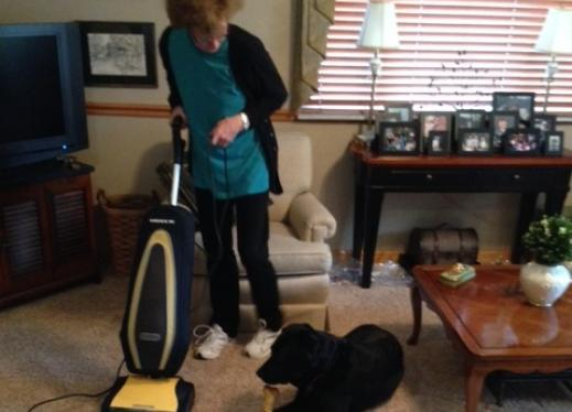 Woman using vacuum cleaner with guidedog lying on floor