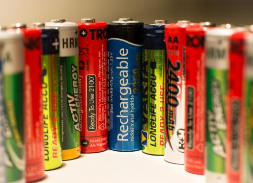 a row of different kinds of batteries