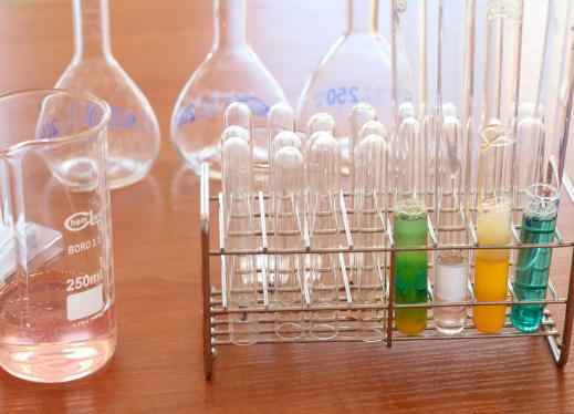 test tubes containing chemical reactions