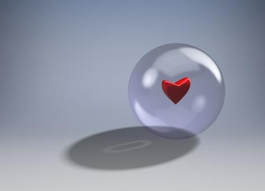 a heart in a bubble, with a shadow