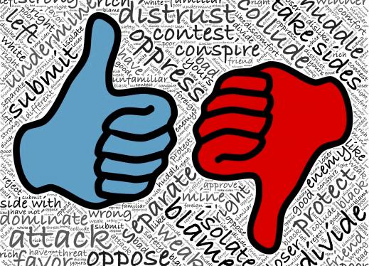 an image of one thumb up, and one down, with words behind it related to power, opression, and being oppressed