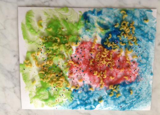 Finished sponge painting with macaroni and sprinkles
