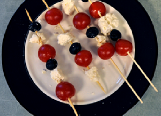 Salad on a stick, the finished product.