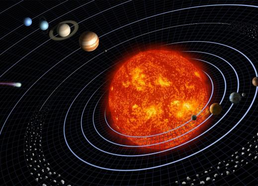 solar system with the sun in the middle and planets on different rings around it