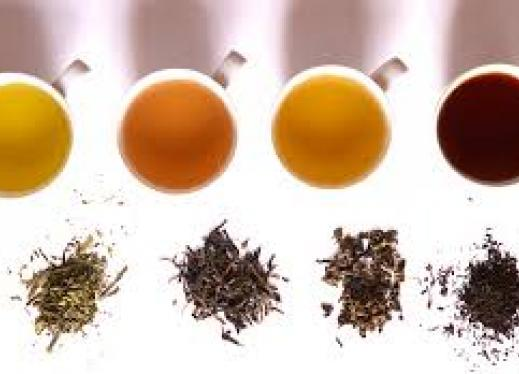 The image is of four cups of tea and tea leaves.