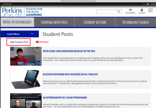 Screenshot of Paths to Technology Student Post page with Add a Student Post marked.