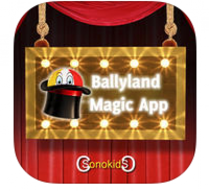"Ballyland app logo:  image of a ball peaking out of a magic hat and text, ""Ballyland Magic app"""