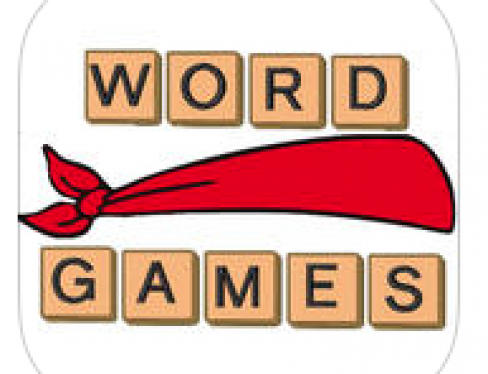 "Logo: A red blindfold between the words ""Word"" and ""Games""."