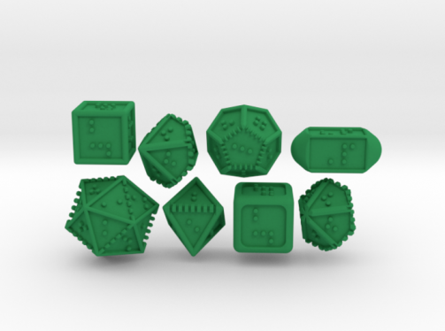 Photo of 8 3D printed braille  die ranging from 4-sided to 2-sided.