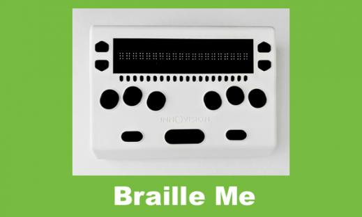 small white 20-cell braille display with black keys; up and down arrows on both sides of the braille, cursor buttons underneath.