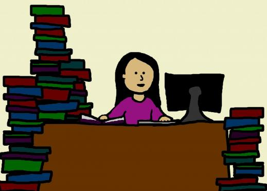 Cartoon image of college student at a desk with a computer and books stacked on the in piles on the floor around her.
